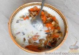 Домашняя колбаса с грибной начинкой: Затем добавить оставшееся молоко с желатином.
