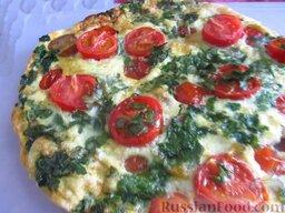 Фритатта самая простая: Фритатта с колбасой и помидорами готова. Приятного аппетита!