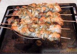 Шашлык из курицы, в духовке: Шашлык из курицы в духовке готов!   Советую приготовить такие шашлыки на праздничный стол. Порадуйте своих родных и близких!