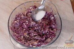 Салат из краснокочанной капусты: Салат перемешать. По желанию посолить. Также при желании можно добавить в салат горчицу и различные специи.