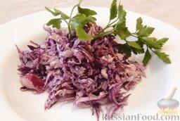Салат из краснокочанной капусты: Выложить на тарелку и украсить зеленью петрушки.  Приятного аппетита!