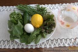 """Окрошка """"Легкая"""" на лимонной воде: Подготовим ингредиенты, которые понадобятся для приготовления окрошки на лимонной воде.    Заранее отварим яйцо вкрутую."""