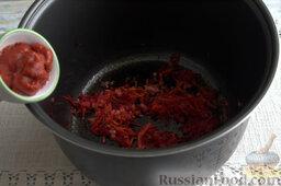 Борщ с молодой капустой и щавелем (в мультиварке): Добавляем к овощам томатную пасту. Смешиваем ингредиенты.