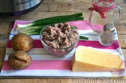 Мясная запеканка с картофельным пюре (в мультиварке): Заранее подготовим ингредиенты для приготовления мясной запеканки с картофельным пюре в мультиварке.