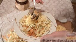 Салат из пекинской капусты с мидиями: Сверху выложить мидии. Салат с мидиями и пекинской капустой готов!