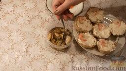 Картофельные тарталетки с морепродуктами: В каждую тарталетку добавить по одной мидии.