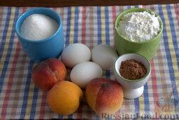 Шоколадный пирог с персиками: Продукты, которые понадобятся для приготовления шоколадного пирога с персиками.