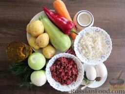 Суп с кабачками и тефтельками: Подготовим продукты для супа с кабачками и тефтельками.  Рис отварим до полуготовности.