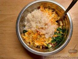 Фаршированные кабачки: Смешать все ингредиенты. Промыть рис и добавить к фаршу. Перемешать.