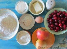 Пирожки с вишней и яблоками, на сливочном тесте: Подготовить ингредиенты для приготовления цельнозерновых пирожков с вишней и яблоками.
