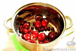 Напиток из красной алычи и вишни: Промытые плоды перекладываем в кастрюлю.