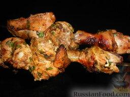 Куриный шашлык в маринаде из крыжовника: Шашлык из курицы в маринаде из крыжовника готов!