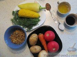 Рагу с помидорами, чечевицей и кукурузой: Подготовить продукты для овощного рагу с помидорами, чечевицей и кукурузой.