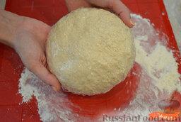 Чебуреки с говяжьим фаршем: Как приготовить чебуреки с говяжьим фаршем:  Смешиваем холодное молоко с солью, добавляем часть муки (150 г), перемешиваем. Вливаем частями водку и вмешиваем в тесто. Добавляем оставшуюся муку и замешиваем тесто, оно не должно липнуть к рукам. Заворачиваем тесто в пленку и ставим в холодильник на 30 минут.