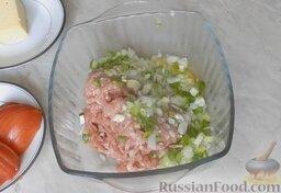 Молодые кабачки с фаршем, помидорами и сыром: В глубокую миску поместить фарш, вбить одно яйцо, посолить и добавить зеленый лук. Все перемешать до однородного состояния.