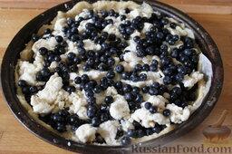 Пирог с черникой и творогом: Затем опять слой творожной крошки и слой черники.