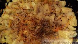 Рагу овощное с картошкой, фаршем и грибами: На этом этапе я немного подсаливаю, добавляю молотого черного перца и паприки.