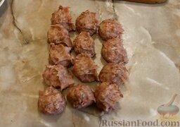 Мясные зразы с грибами: Фарш разделить на 13 равных частей.