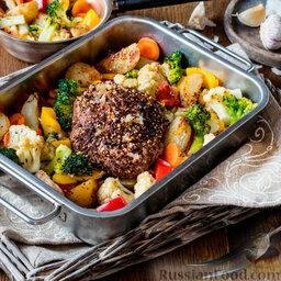 Баранина с брокколи, цветной капустой и картофелем