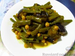 Овощное карри: Овощное карри со стручковой фасолью, баклажанами и нутом готово.  Приятного аппетита!