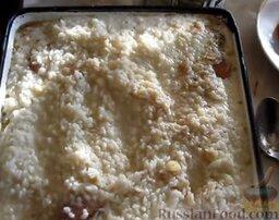 Запеканка рисовая с куриной грудкой и овощами: Поверх куриной грудки равномерно распределить рис.