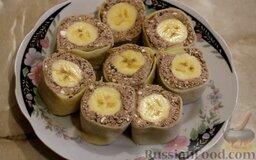 Рисовые блины без сахара, с творогом и бананом