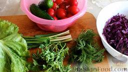 Салат из краснокочанной капусты с огурцом и редисом: Подготовить ингредиенты для салата из краснокочанной капусты. Вымыть зелень и овощи. Нашинковать капусту.