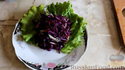 Салат из краснокочанной капусты с огурцом и редисом: Выложить на тарелку листья салата. Сверху выложить салат.