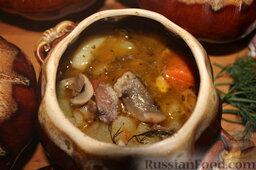 Куриные сердечки с овощами и грибами (в горшочке)