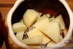 Куриные сердечки с овощами и грибами (в горшочке): Порезать картофель и морковь крупными кусками, распределить по горшочкам.