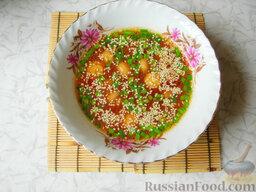 Восточный суп с кунжутом и маринованными шампиньонами
