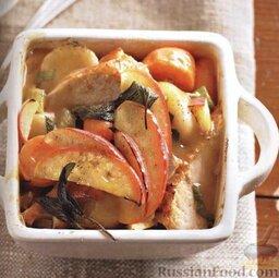 Рагу из замороженных овощей, с отварной курицей или индейкой