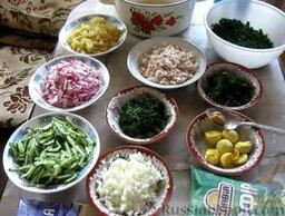 Окрошка на кефире, с минеральной водой: Подготовить ингредиенты для окрошки на кефире. Картофель отварить в мундире, очистить и нарезать. Отварить куриную грудку и нарезать небольшими кубиками. Яйца отварить, остудить, очистить, отделить белки от желтков. Белки нарезать кубиками.  Огурцы и редис нарезать соломкой. Зелень мелко нарезать.