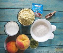 Заварной пирог «Бразильский» с персиками: Подготовить ингредиенты для заварного пирога с персиками.