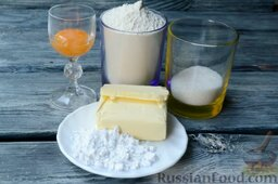 Ягодный тарт с черникой и белковым кремом: Подготовить ингредиенты на песочное тесто для ягодного тарта.