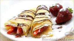 Блины с корицей, клубникой и шоколадной глазурью: Присыпать сахарной пудрой - и блины с корицей, клубникой и шоколадом готовы.  Всем приятного аппетита!