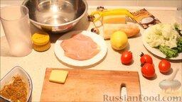 """Салат """"Цезарь"""": Подготовить ингредиенты для салата"""