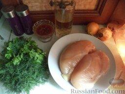 Шашлык из индейки: Продукты для приготовления шашлыка из индейки перед вами.