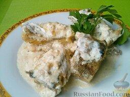 Треска тушеная: Выложить тушеную треску на глубокое блюдо.    К столу треска тушёная подается с картофелем или салатом из свежих овощей.    Приятного аппетита!