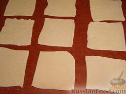 Тесто для мант: Нарезать квадратиками 10х10 см.