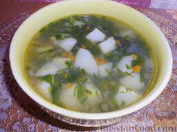 Суп картофельный со щавелем: Разлить суп по тарелкам.