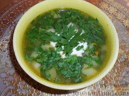 Суп картофельный со щавелем: Подавать суп со щавелем горячим, со сметаной и рубленой зеленью.