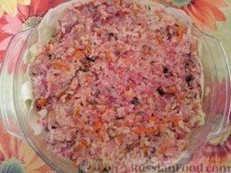 Ленивые голубцы (6 порций): Снова выложить слой фарша. (Оставшуюся половину фарша)