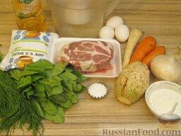 Щи зеленые из щавеля: Подготовить продукты для приготовления щей зеленых из щавеля.