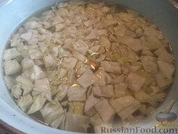 Щи с рыбными консервами: Вскипятить воду. Посолить. В кипящую подсоленную воду опустить нарезанную кусками капусту. Варить около 20 минут.