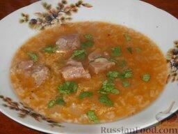 Суп харчо по-грузински: При отпуске суп-харчо по-грузински посыпать рубленой зеленью. Можно добавить 1-2 тонких колечка красного острого перца.