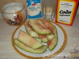 Варенье из арбузных корок. Способ 1: Подготовить продукты для варенья из арбузных корочек.
