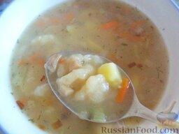Суп с клецками (постный) (4 порции)