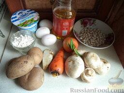 Суп с клецками (постный) (4 порции): Продукты для постного супа с клецками перед вами.