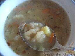 Суп с клецками (постный) (4 порции): Суп с клецками готов. Подавать постный суп с клёцками горячим.  Приятного аппетита!